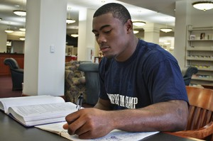 Justin Shade, linebacker for Samford University, is majoring in accounting.